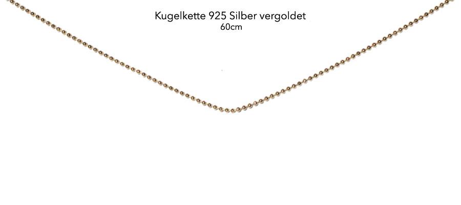 Kugelkette 925 vergoldet 18k, 60cm
